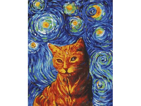 Ginger cat in the style of van Gogh paint by numbers