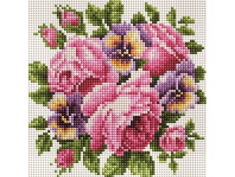 Roses and pansies diamond painting