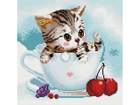 Kitty and Cherries diamond painting