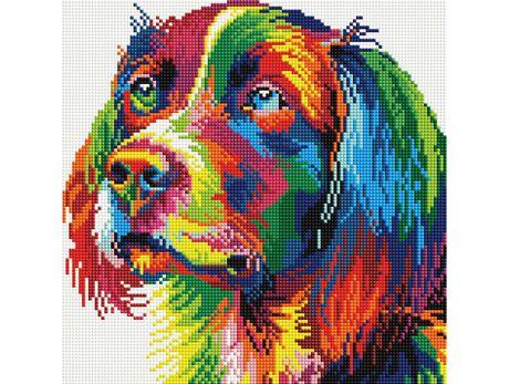 Colorful dog diamond painting