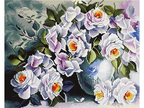 White roses diamond painting