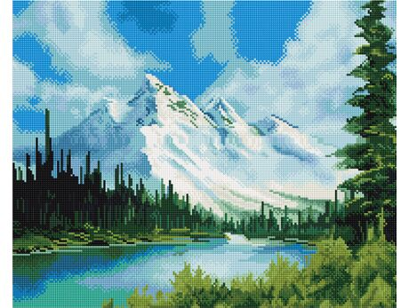 Snowy mountain landscape diamond painting