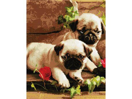 Pugs and flowers diamond painting