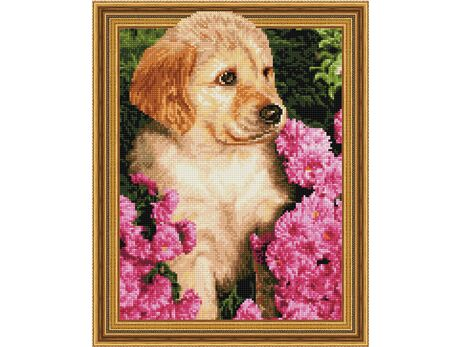 Puppy in flowers diamond painting