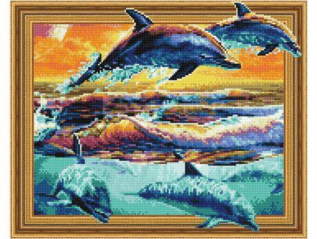 Joyful dolphins diamond painting