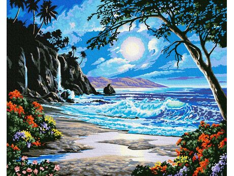 Coast in the light of the moon paint by numbers