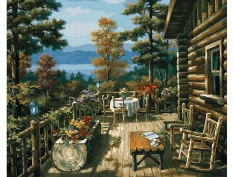 Terrace with a beautiful view paint by numbers
