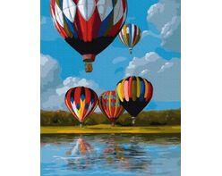 Colorful balloons on the lake