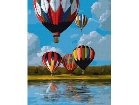 Colorful balloons on the lake paint by numbers
