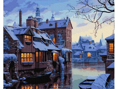 Winter evening in Bruges paint by numbers
