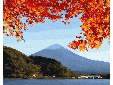 Mount Fuji in the fall paint by numbers
