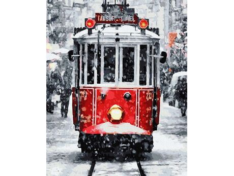 Winter tram paint by numbers