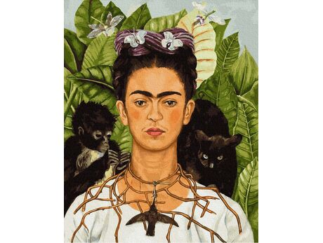 Frida Kahlo. Thorn necklace and hummingbird portrait paint by numbers