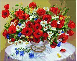 Cornflowers, daisies, poppies