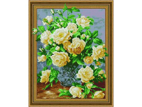 A bouquet of white roses diamond painting