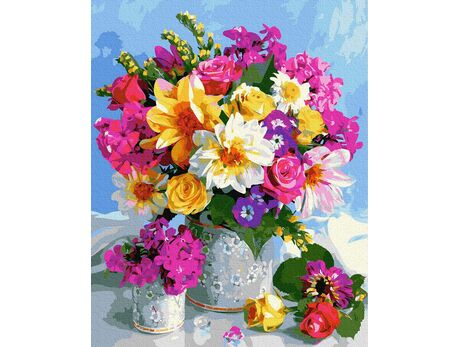Colorful summer bouquet paint by numbers