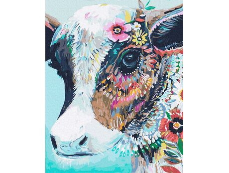 Colorful cow paint by numbers
