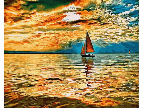 Bright colors of sunset paint by numbers