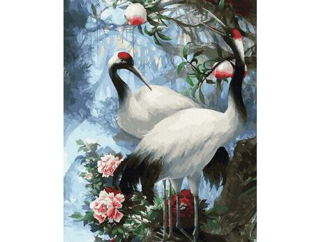 Beautiful cranes paint by numbers