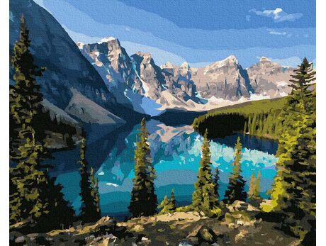 The beauty of a mountain lake paint by numbers