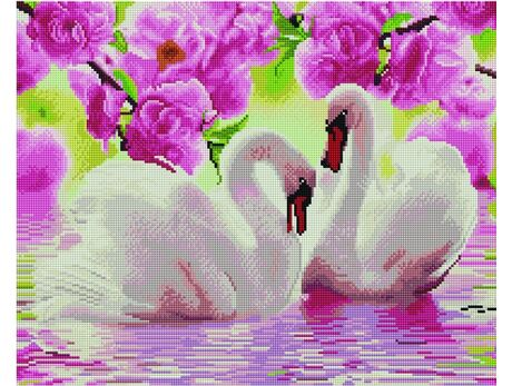 White swans on the water diamond painting