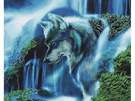 Wolf waterfall diamond painting