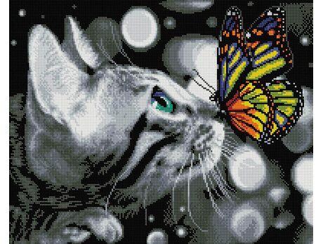 Kitten and butterfly diamond painting
