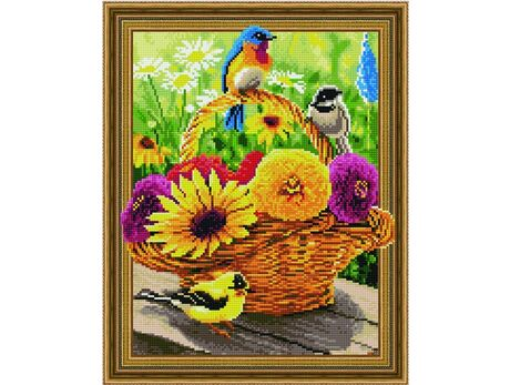 Colorful flowers and birds diamond painting