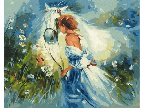Beautiful girl with a horse paint by numbers