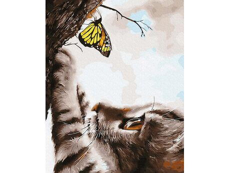 Kitten and butterfly paint by numbers