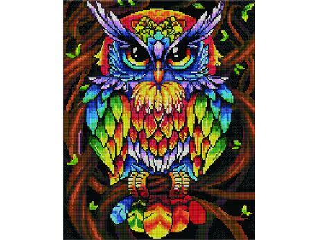Rainbow owl diamond painting