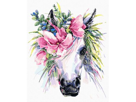 Unicorn in flowers paint by numbers