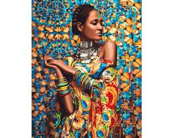 Woman in a colourful dress