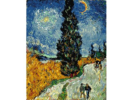 Road with Cypresses and a Star (Van Gogh) paint by numbers