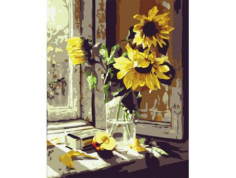 Sunflowers on the window paint by numbers
