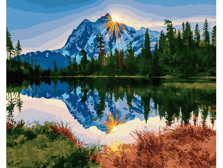 Sunset in the mountains paint by numbers