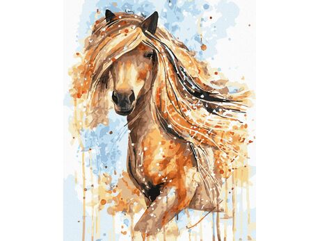 Golden Horse Mane paint by numbers