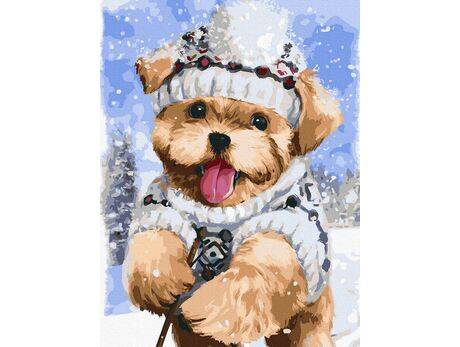 Terrier in the snow paint by numbers
