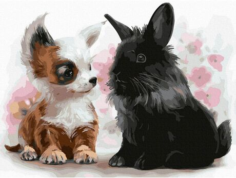 Puppy with a bunny paint by numbers