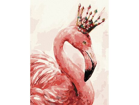 Crowned flamingo paint by numbers