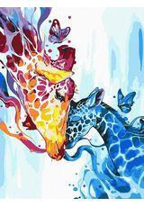 Colorful giraffes