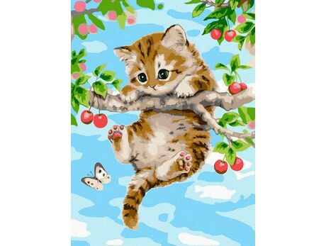 Kitten on a cherry branch paint by numbers