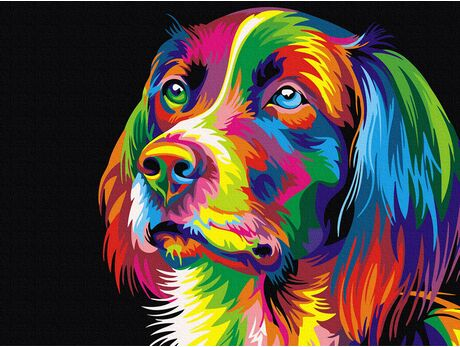 Colorful grace of the dog paint by numbers