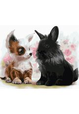 Puppy with a bunny