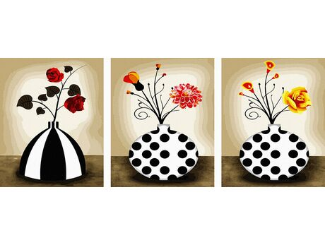 Flowers in vases paint by numbers