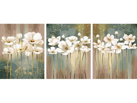 White flowers paint by numbers