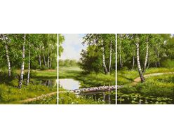 Birch trees by the stream