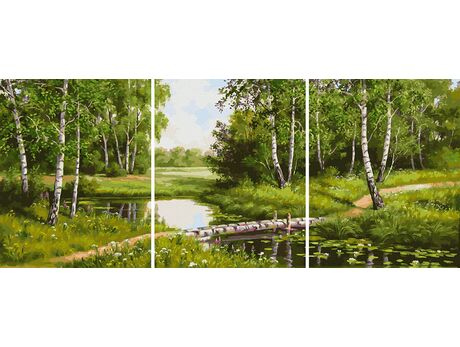 Birch trees by the stream paint by numbers