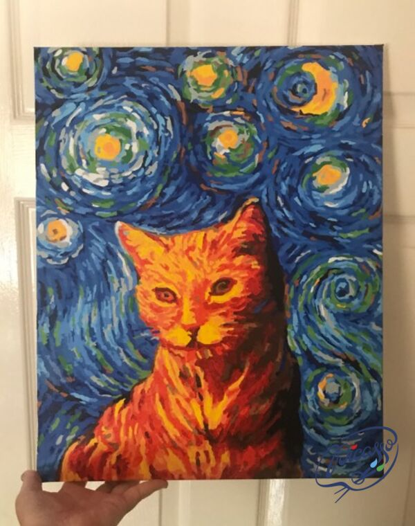 Ginger cat in the style of van Gogh